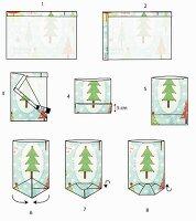 Gezeichnete Bastelanleitung für gefaltete Papiertüten als Adventskalender