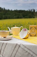 Teacups and polka-dot teapot on table outdoors