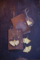 Gold and brown gingko greetings cards