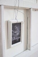 St. Valentine's Day greeting on framed chalkboard