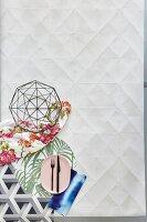 An arrangement of various pattern mix decorative elements