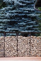 Firewood stacked in metal frames in front of trees