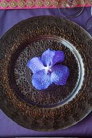 Purple orchid bloom on ornate Indian charger plate