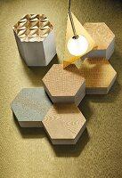Metallic fabric patterns on honeycomb-shaped objects