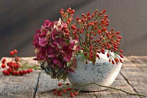 Hagebutten und Hortensien in Vase auf Holztisch