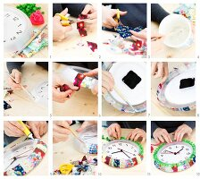 Instructions for decorating a wall clock with patchwork fabric, pompoms and narrow trim