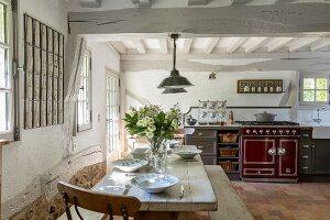 Rustic kitchen in farmhouse
