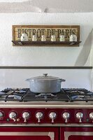 Casserole dish on vintage-style gas cooker
