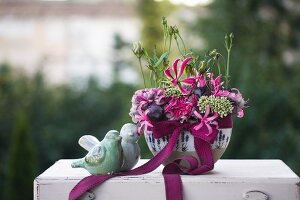 Festive bouquet with eustoma & carnations
