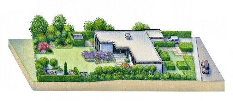 A perspective illustration of a garden with an L-shaped, single storey flat-roof house