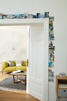 A door frame decorated with photos