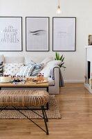 Black-framed graphic artwork in modern living room