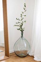 Olive branch in demijohn in corner