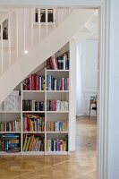 Bookcase in spandrel below staircase
