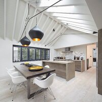 Open-plan designer kitchen and dining area