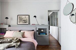 Elegant bedroom in delicate shades
