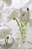 weiße Ranunkel in kleinen Kristallvasen als Tischdeko