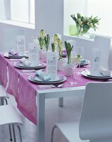 White hyacinths, menu cards and mauve runner on festively set table