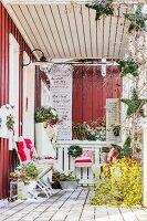 Festively decorated veranda of Swedish house