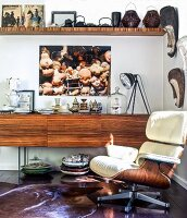 Wooden furniture and collection of curios in living room