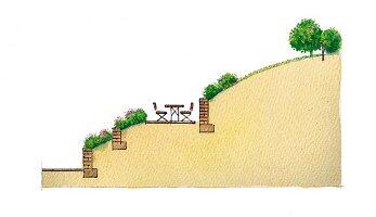 An illustration of a garden (cross section)