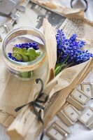 Grape hyacinths wrapped in vintage paper