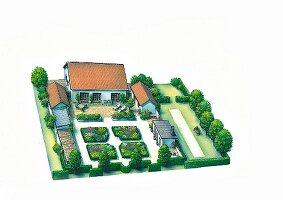 A perspective plan of a garden with an orangerie