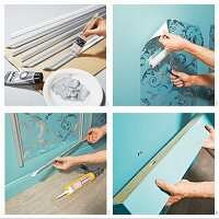 Instructions for decorating dado with patterned wallpaper and moulded trim