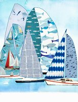 Sailing ships made from fabric remnants