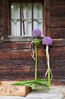 Festive arrangement of purple alliums in front of rustic façade of wooden house