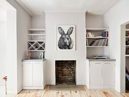 Surreal drawing of animal above open fireplace with white shelves and cupboards fitted in niches either side