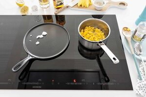 Pans on an induction stove