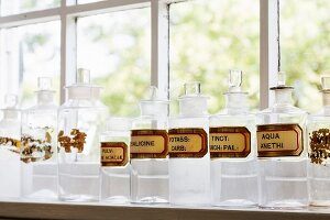 Row of apothecary jars with labels on windowsill