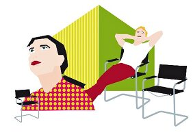 An illustration depicting the conflicting opinions of a man and woman with regard to a cantilever chair