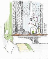 Illustration: Fenstergestaltung mit Innenfensterläden, romantischem Scheibenvorhang und Heizkörperverkleidung