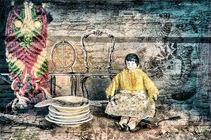 Vintage china doll, stacked plates and macramé owl