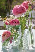 Ranunculus in various glass vases