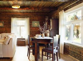 Farmhouse furniture in rustic living room of wooden house