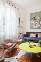 Retro furniture and cowhide rug in living room