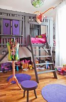 DIY loft bed in child's bedroom in shades of grey and purple