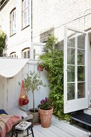 Foliage plants and wooden terrace with cosy, vintage ambiance