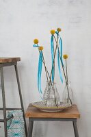 Craspedia and blue ribbons in glass vases on vintage stool