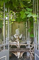 View into vine-covered romantic pavillion