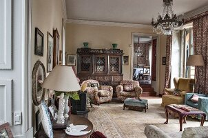 Various armchairs in traditional living room