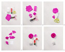 Instructions for making a paper carnation tag for a teabag