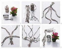 Instructions for making a macrame plant hanger made from jersey yarn and a tin can