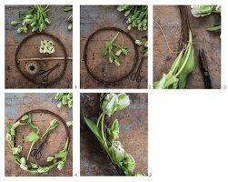 Anleitung für einen rustikalen Kranz aus rostigem Draht und Tulpen