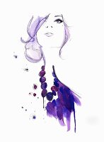 Glamorous woman wearing purple necklace