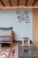Living space under mezzanine in industrial loft apartment