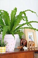 Tierfiguren neben Zimmerpflanzen